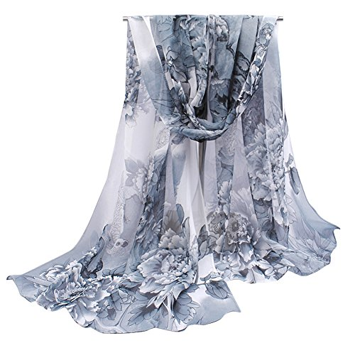 Herebuy - Unique Women's Floral Scarves: Chiffon Flowers & Birds Printed Scarf (Black&Gray)