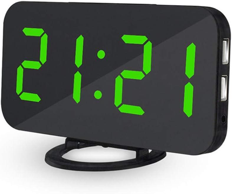 Reloj despertador digital para mesilla a corriente teepao Reloj Digital con pantalla grande LED de 6,5modos, función superficie 60, dobles Puertos de Carga USB