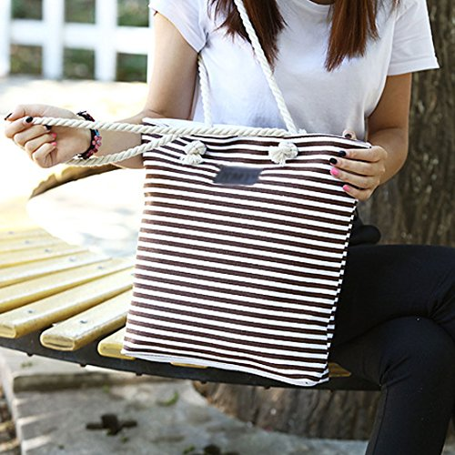 Summer Blue Meliya Beach Shoulder Shopping Stripe Oversized Ladies Striped Canvas Bag Bag Tote Coffee qRP0q