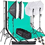 FOSITAN Softbox 2M x 3M/6.5ft x 10ft Background Support System 800W 5500K Photo Studio Umbrella Softbox Lighting Kit with 2M Light Stand for Photo Studio, Portrait and Video Shoot Photography