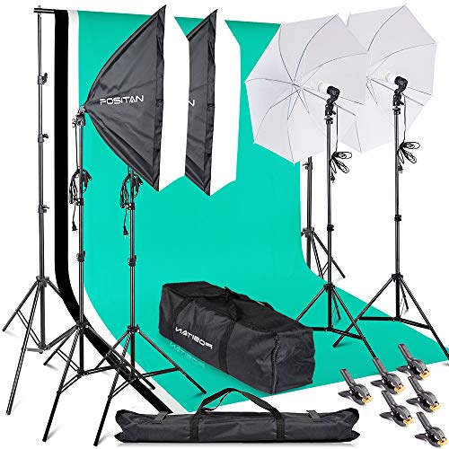 FOSITAN Softbox 2M x 3M/6.5ft x 10ft Background Support System 800W 5500K Photo Studio Umbrella Softbox Lighting Kit with 2M Light Stand for Photo Studio, Portrait and Video Shoot ()
