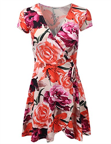 Ajustement Lâche Des Femmes Clovery Une Ligne Robe À Fleurs Et Robe Imprimé Solide De Awdsd0772_roseprint
