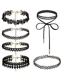 Dream Catcher 1-6 Pcs Womens Lace Velvet Leather Choker Necklace Adjustable Black