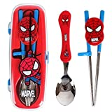 Marvel Spiderman Flatware Kids Nursery Baby Spoon and Training Chopstick Set with a Portable Box