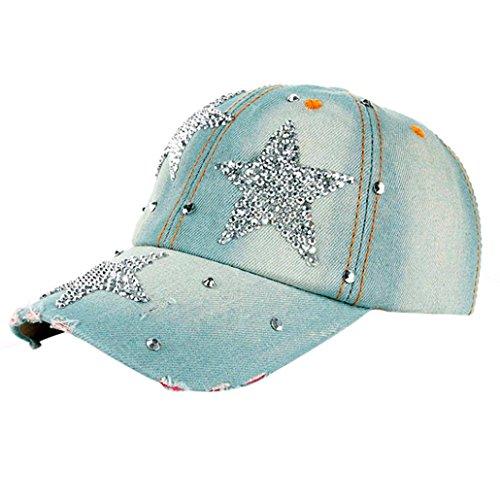 Price comparison product image Clearance! Fashion Boy Girls Hip Hop Flat Hat Shinny Bling Studded Rhinestone Stars Duck Hat Denim Baseball Cap Sun Hat (Light Blue)