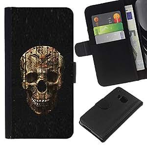 ZCell / HTC One M7 / Skull Evil Halloween Death Metal / Caso Shell Armor Funda Case Cover Wallet / Cráneo mal halloween muerte metal
