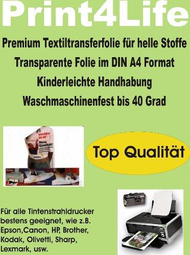 T-Shirt Folie Transferfolie Textilfolie klares Transferpapier 15x DIN A4 f/ür helle//wei/ße Stoffe