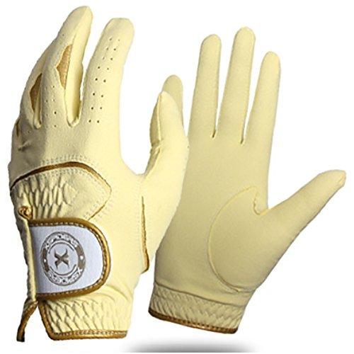 Yellow Womens Golf Glove - Xspiders Ladies' Rain Golf Gloves Washable Women's Gloves 1 Pair(Lesft+Right Set) (Yellow, XS)