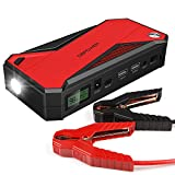 #6: DBPOWER 600A 18000mAh Portable Car Jump Starter (up to 6.5L Gas, 5.2L Diesel Engine) Battery Booster and Phone Charger with Smart Charging Port (Black/Red)