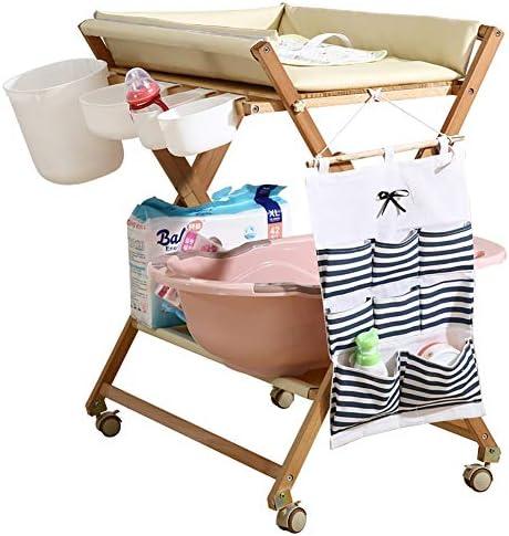 おむつ 交換台 折りたたみ式木製おむつ交換台-幼児用浴槽、小さなスペース用の防水パッド付き、黄色