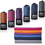 BOGI Microfiber Travel Sports Towel-(Size: S M L XL)-Dry Fast Soft Lightweight Absorbent&Ultra Compact-Perfect for Camping Gym Beach Bath Yoga Backpacking Fitness +Gift Bag&Carabiner
