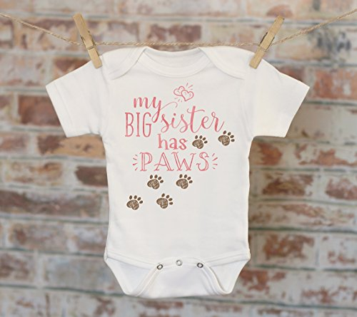My Big Sister Has Paws Onesie in Pink, Funny Onesie, Big Sister Onesie, Cute Onesie, Dog Sister Bodysuit, Boho Baby Onesie by Witty and Bitty