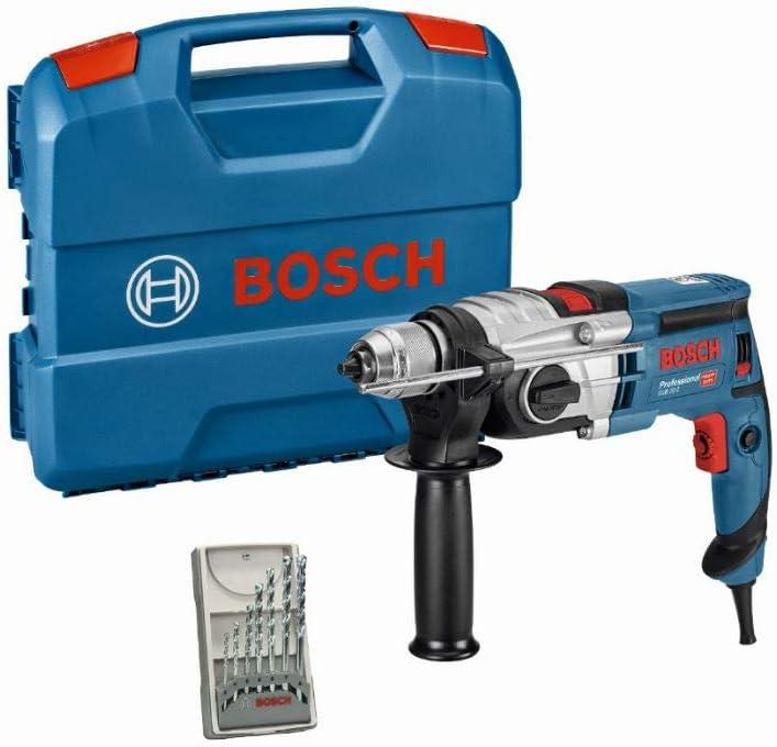 Bosch Professional GSB 20-2 - Taladro percutor (850 W, 2 velocidades, 3000 rpm, Ø max perforación hormigón 18 mm, set 7 brocas, en maletín)