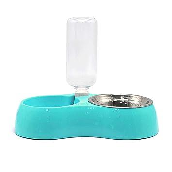Leegoal Comederos Automáticos para Perros Gatos, Botella de Agua Cuenco Alimento Accesorio Dispensador para Mascotas