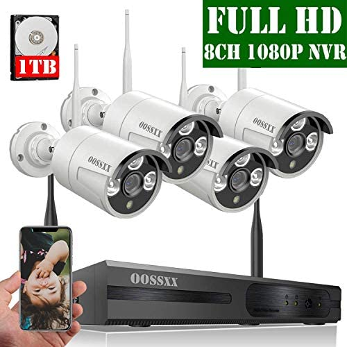 2020 Update OOSSXX 8-Channel HD 1080P Wireless Security Camera System,4Pcs 1080P 2.0 Megapixel Wireless Indoor Outdoor IR Bullet IP Cameras,P2P,App, HDMI Cord 1TB HDD