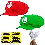 thematys® 2X Chapeau Super Mario Luigi - Costume pour Adultes et Enfants + 2X Gants et 6X Barbe Collante - Parfait pour Le Carnaval et Le Cosplay