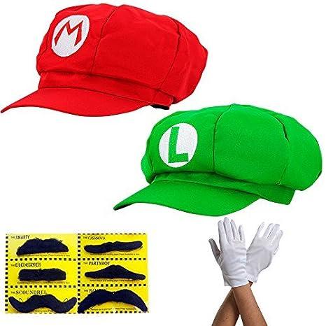 51d0fcd003629 Super Mario Gorra Luigi - Conjunto de Disfraces para Adultos y niños + 2X  Guantes y