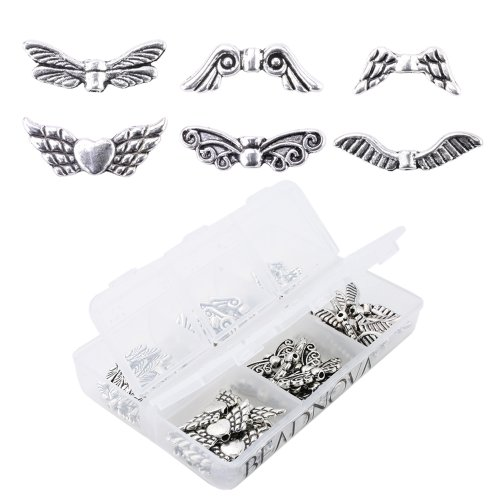 BEADNOVA Vintage Tibetan Silver Plated Angel Wing Charm Beads Spacer Jewelry Findings Parts for Jewelry Making With Container Box (Angel Wings Bead)