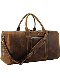 Mens Full Grain Leather Duffel Bag Overnight Travel Duffle Weekender Bag