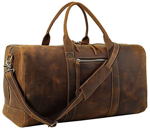 Polare Mens Genuine Leather Duffel Bag Overnight Travel Duffle Weekender Bag 22.8'' by Polare