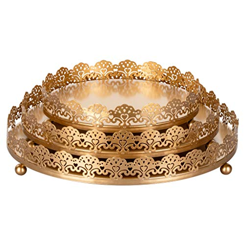 Sophia 3-Piece Gold Decorative Tray Set, Round Metal Ornate Accent Vanity Food Display Serving Platter Holder Plates