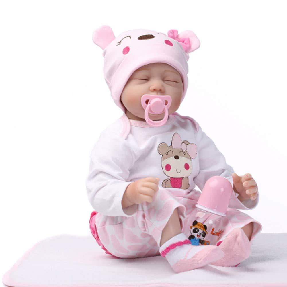 NACHEN Renacer muñeca bebé muñeco Realista de Vinilo de Silicona recién Nacido niña y niño 22 pulgadas/55 cm,color1,55cm
