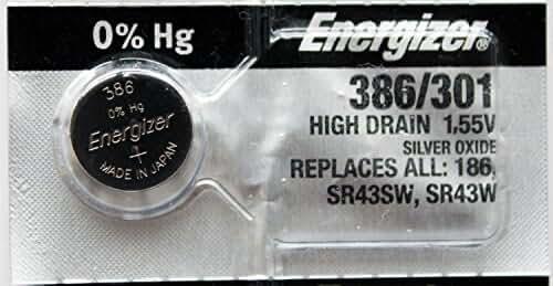 Energizer 386 301 Silver Oxide SR43SW, SR43W, SR43 1pc (Each)