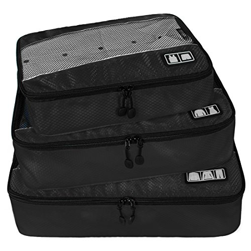 BAGSMART Travel Packing Cubes 3 Sets Luggage Packing Organizer for Carry-on Accessories, Black