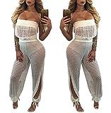 Prettyever Stylish Black Lace Side Zipper Bag Big Hip Cashew Lace Jumpsuit,White,S