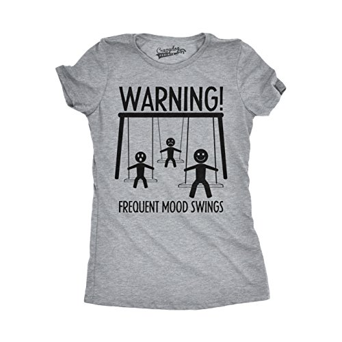 Crazy Dog TShirts - Womens Warning Frequent Mood Swings Funny Stick Figure Playground T shirt - damen -