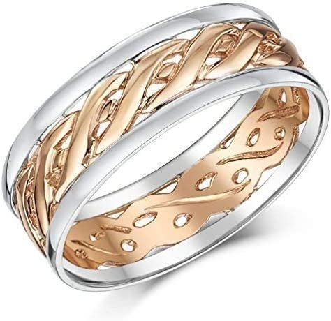 9ct Two Colour Rose Gold Celtic Wedding Ring Band 6 mm 7 mm