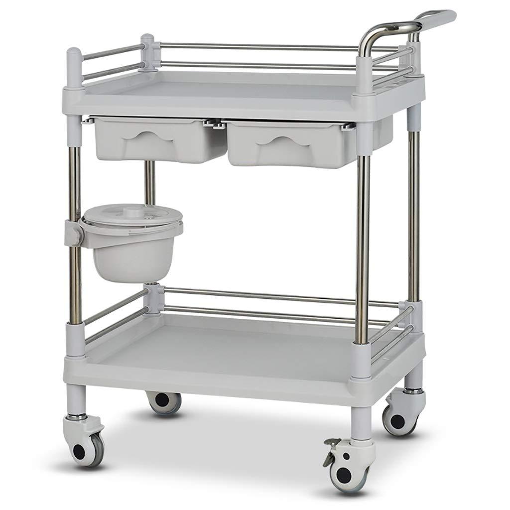 美容院の医学の移動式カート、多機能の器械用具の変更の薬車のプラスチックステンレス鋼の棚 (サイズ さいず : 64.5*44.5*90cm) B07QJY5D77  64.5*44.5*90cm
