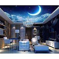 Yosot 3D Papel pintado Photo Papel pintado Tamaño Personalizado Sala De Techo Mural Sueño Starry Sky Moon 3D Pintura Murales De Papel Tapiz Para Paredes En 3D-200Cmx140Cm