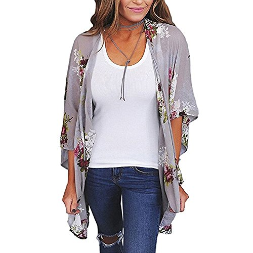 BOSSAND Womens Floral Print Loose Puff Sleeve Kimono Cardigan Lace Patchwork Cover up Blouse (X-Large, Gray)