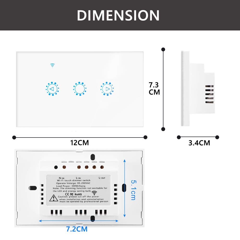 Drizzle Wifi Smart Dimmer Switch Led Light Dimmable Timer Schedule 250vac Wiring Diagram Waterproof Dustproof Touch Panel Remote Control Works Alexa Google Assistant Ifttt