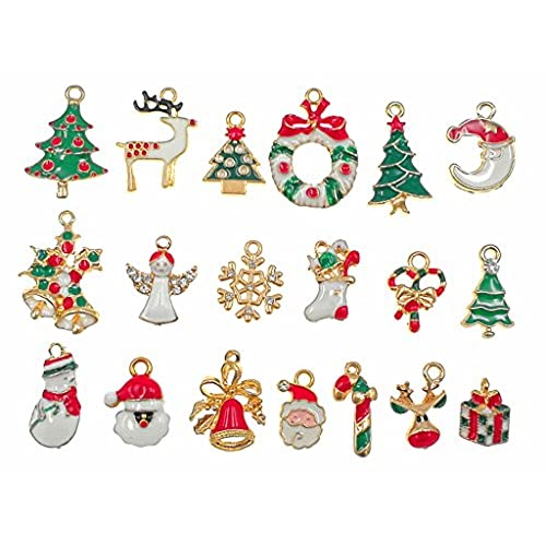 19pcs mixed christmas charm enamel gold toned rhinestone inlaying pendant for diy jewelry making xmas decorative accessories by alimitopia - Christmas Charms