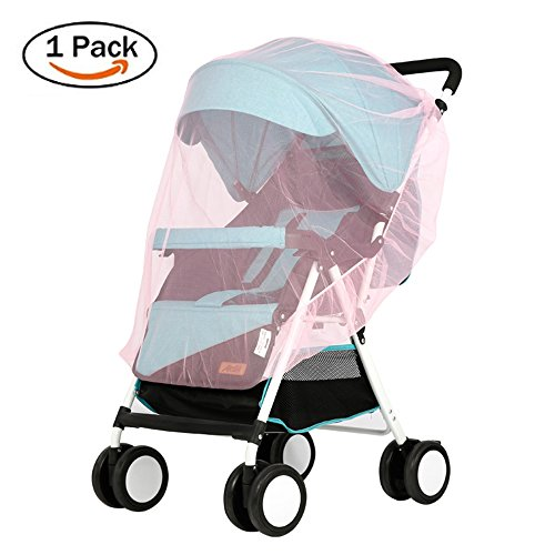 Lyonice Baby Mosquito Net for Stroller, Netting for Infant Carriers, Car Seat, Cribs, Cradles, Bassinets, Playpens, Soft Durable Insect Shield Netting, Mesh Cover - Pink by Lyonice