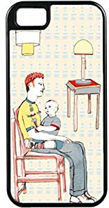 iPhone 4/4S Case Cover - Black Frame - Father sitting with baby playing on his lap