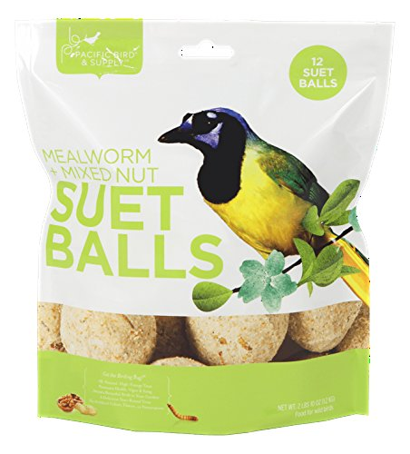 Pacific Bird & Supply Co Mealworm + Mixed Nut Suet Balls (12 - Wild Bird Balls Fat