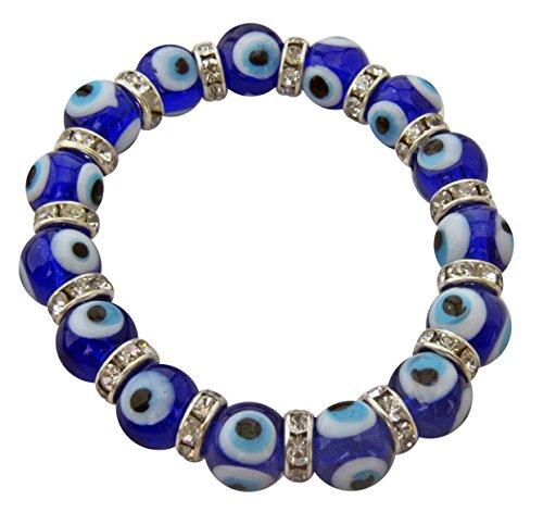 Evil Eye Stretch Charm Girls Bracelet with Navy Blue Murano Glass Beads and Zircon ()