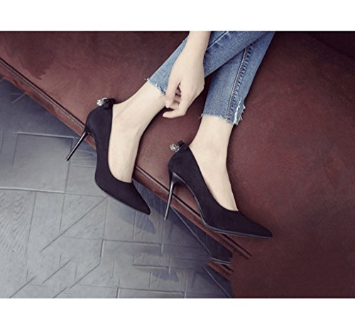 Mouth Heels Summer Kitten Sandals Shallow Pointed Suede Sexy Heel Comfortable Female High Size Color Shoes Toe 34 Black qIC0xPBw