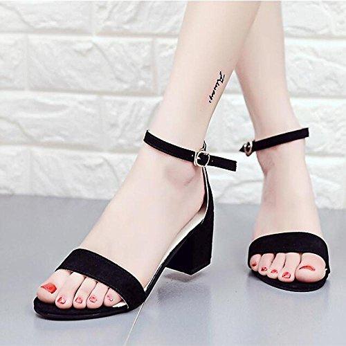 Ouneed ® Las mujeres ocio grueso tobillo sandalias de moda Negro