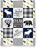 Personalized Baby Name Blanket for Nursery Crib or Toddler Bed | Tribal Baby Woodland Theme Minky Blanket for Boy or Girl