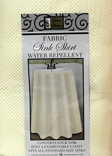 Sink Skirt - Fabric Sink Skirt Mosaic Stitch Ivory