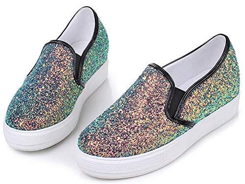 Idifu Womens Unique Paillettes Low Top Mid Zeppa Slip On Platform Sneakers Nere