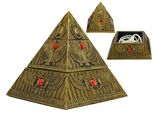 Ebros Ancient Egyptian Themed Golden Winged Scarab Falcon Pyramid Jewelry Box Figurine 7.25