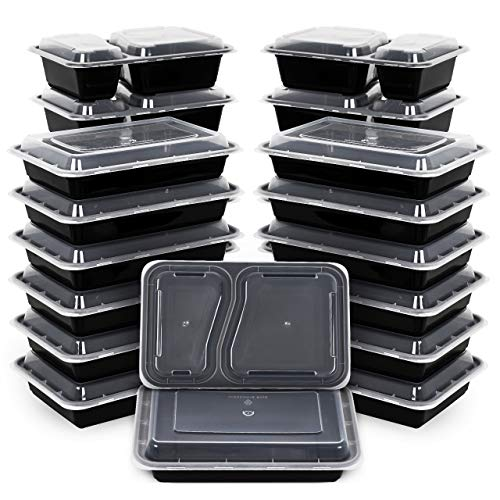 Kootek [26 Pack] Meal Prep Containers 2 & 1 Compartment with Lids (30oz & 35oz), Food Storage Sets Bento Boxes BPA Free Durable Stackable Lunch Box, Microwaveable, Dishwasher and Freezer Safe