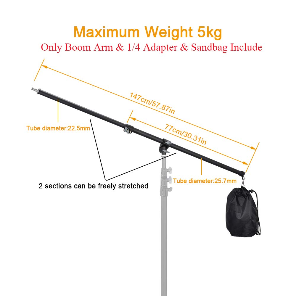 UTEBIT Professional Boom Arm Adjustable 80-140cm Reflector Holder Arms 4.6ft Frosted Overhead Camera Holding Light Stand with Sandbags 360 Swivel Head for Photo Video Studio (Light Stand Not Include) by UTEBIT (Image #4)