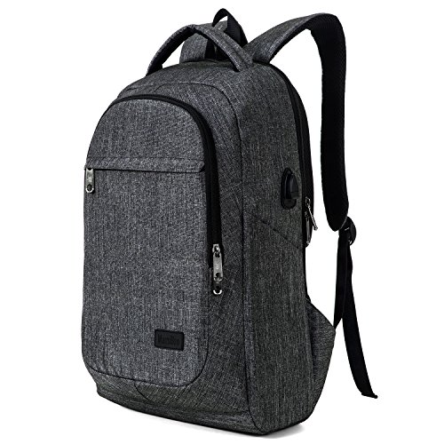 Commuter Portfolio - MarsBro Laptop Backpack, Anti Theft Business Water Resistant 15.6 Inch with USB Charging Port Travel College Computer Bag, Grey