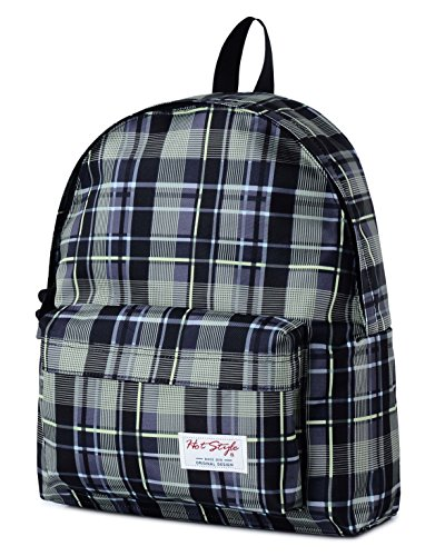 [HotStyle Fashion Printed] FavorPlus Plaid Laptop Backpack for College School Girls, Green (College Costumes Girls)